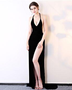 Fourreau Robe De Soirée Simple Longue Sexy Sans Manches Décolleté Noire Dos Nu Fendue