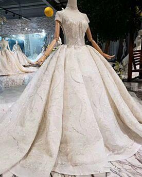Scollato Pizzo Bellissimi Glitter Abiti Da Sposa Avorio Schiena Scoperta Principessa