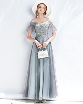 A Linie Applikationen Ballkleider Abendkleid Schöne Grau Kleider Für Festliche Rückenfreies Lange Off Shoulder