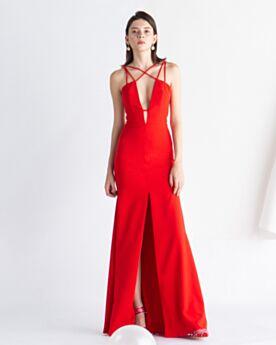 A-Line Vestito Da Sera 2020 Sensuali Vestiti Cerimonia Schiena Scoperta Raso Scollato Lunghi Rosso