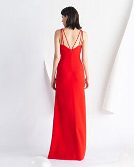 Sexys Rojo Largos De Tirantes Escotados Vestidos De Noche Divididos Satin