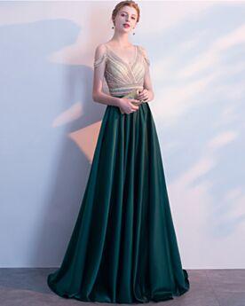 Abendkleider Dunkelgrün Lange Schulterfreies Ärmellos Empire Partykleider Elegante Rückenfreies Satin Brautjungfernkleid