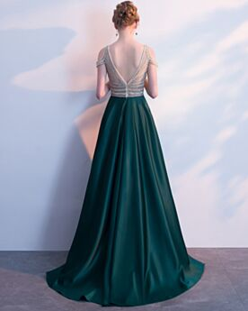 Empire Lange Satijnen Kralen A Lijn 2020 Galajurk Bruidsmeiden Jurken Avondjurken Open Rug Donkergroene Elegante