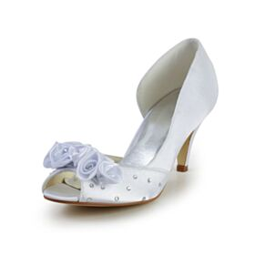 Stiletto 6 cm Tacones Strass Peep Toe Blancos Elegantes Zapatos Tacon Zapatos De Novia