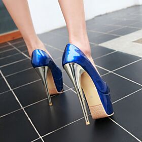 Over 5 inch Pumps Going Out Shoes Patent Platform Faux Leather Classic Dress Shoes Royal Blue Peep Toe High Heel