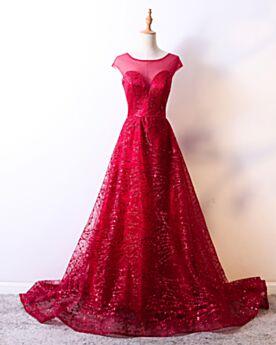 Red Prom Dresses Open Back Glitter Princess Sleeveless