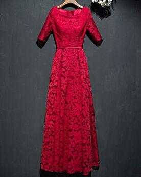 Abiti Da Cerimonia Eleganti Abiti Per Matrimonio Mezza Manica Stile Impero Rosso Abiti Da Sera Pizzo Lunghi