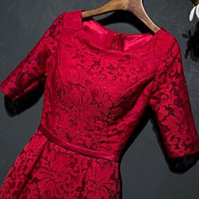 Vestidos De Madrina Elegantes Rojos De Encaje Largos Vestidos Para Ir A Una Boda Imperio Vestidos De Noche Para Fiesta
