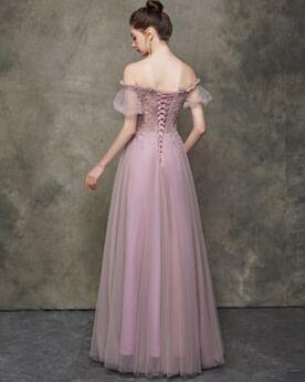 Lungo A Balze Tulle Rosa Antico Vestiti Prom Schiena Scoperta Eleganti Abiti Da Cerimonia Vestiti Da Sera