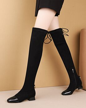 Schwarz Leder Overknee Stiefel Chunky Heel Winter