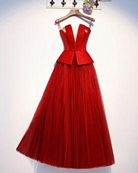 2020 Largos Peplum Tul De Satin Vestidos De Fiesta Escotados Sin Hombros Acampanados Rojos Elegantes Vestidos De Noche