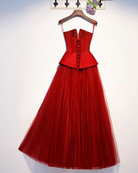 Plunge Long Satin Fit And Flare Elegant Formal Evening Dresses Peplum Red Sleeveless Bandeau