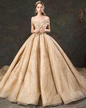 Estilo Princesa Drapeados Con Cola Vestidos De Novia Encaje De Lujo Hombros Caidos Dorados De Lentejuelas Brillantes Espalda Descubierta