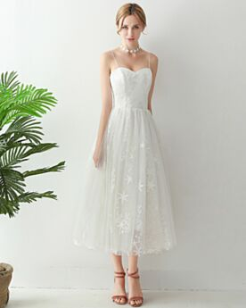 Wedding Dresses Beach Reception Open Back Tea Length Spaghetti Strap Bohemian Fit And Flare Sleeveless Lace