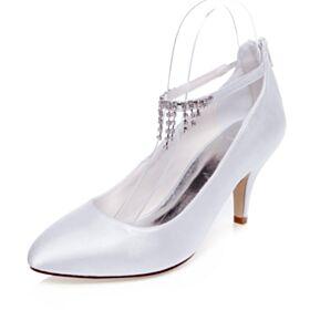 Chaussure Mariée Talons Aiguilles Blanche Escarpins Avec Strass Satin Bride Cheville 7 cm Talon Mid