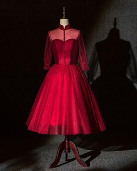 Mother Of Bridal Dress Dress For Wedding Guest Burgundy Elegant Tea Length Modest Open Back High Neck