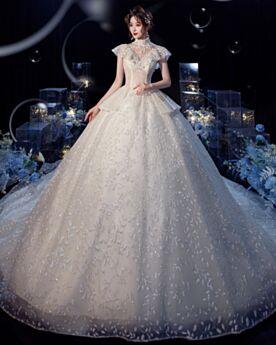 High Neck Open Back Charming Wedding Dress Ruffle Long Lace