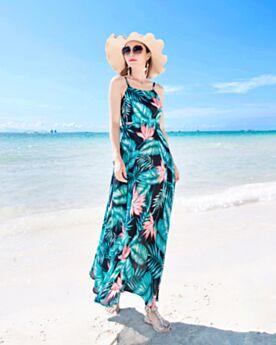 Slip Dress Bohemios Trapecio Tirantes Sueltos Maxi Vestidos Playa Espalda Abierta Sin Manga Vestidos Estampados Vestidos