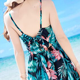 Smock Backless Dark Green Dresses Summer Spaghetti Strap Beach Dress Swing Bohemian Slip Dress