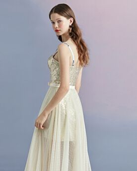 Fit And Flare Spaghetti Strap Sparkly Cocktail Dress Graduation Dress Summer Juniors Tulle Sequin Tea Length Open Back