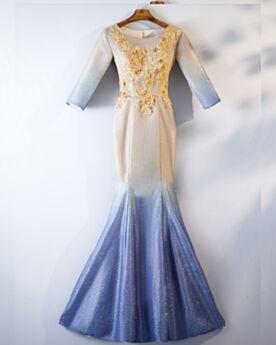 Sirène Glitter Demi Manche Robe De Soirée Robes De Bal Colorée Longue Brillante