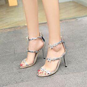 Paillettes Sandali Uscire Di Vernice 10 cm Tacco Alto Con Lacci Scarpe Cerimonia Estivi Cinturino Alla Caviglia Tacco A Spillo