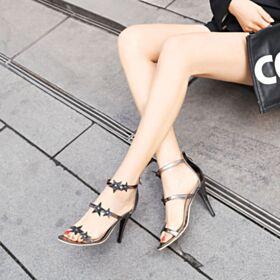 Sandali Scarpe Cerimonia Con Cinturino Alla Caviglia Tacco A Spillo Paillettes Uscire Con Lacci Vernice 10 cm Tacco Alto