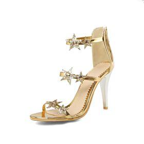 Eleganti Paillettes Tacco Alto Scarpe Da Cerimonia Lacci Caviglia Dorati Tacchi Spillo Sandali Donna