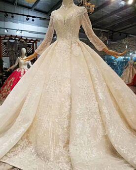 Lange Ärmel Hochgeschlossene Spitzen Mit Fransen Brautkleider Pailletten Lange Luxus Tiefer Ausschnitt