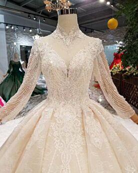 Principessa Eleganti Con Perline Avorio Con Frange Manica Lunga Abiti Da Sposa Con Scollo Profondo Schiena Scoperta Con Paillettes