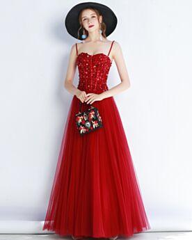 Rouge Robe Soirée Brillante Robe De Bal Princesse Encolure Coeur Chic Dos Nu Sans Manches Longue
