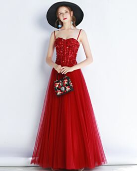 Sparkly Long Cute Princess Tulle Sweetheart Spaghetti Strap Red Open Back Formal Evening Dress Prom Dresses Sequin