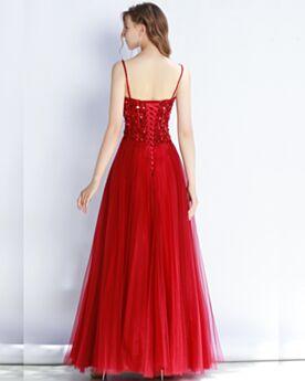 Rojos Largos De Tirantes Sin Manga De Lentejuelas Vestidos De Fiesta Para Prom Brillantes Vestidos De Noche Linea A