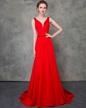 Largos Con Cola Rojos Elegantes Vestidos De Fiesta De Noche Vestidos De Madrina Corte A Escote V Pronunciado Con Cinturon