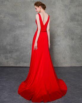 Lange Open Rug Mouwloze Feestjurken Rode Elegante Bruidsmoederjurken Laag Uitgesneden Avondjurken A Lijn