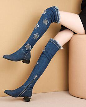 Zerrissene Jeans Winter Chunky Heel Stretch Hohe Stiefel Stiefel Overknee Kitten Heel