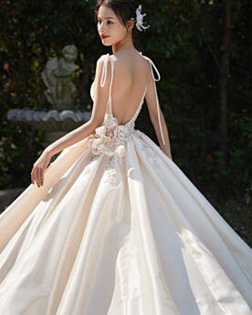 With Train Wedding Dress Vintage Sleeveless Princess