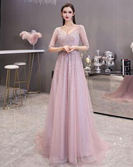 Belle 2020 Scollo Profondo Vestiti Ballo Lunghi Abiti Cerimonia Da Sera Cipria Tulle Luccicante Schiena Scoperta Vestiti 18 Anni Glitter