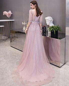 Sequin Robe De Ceremonie Demi Manche Rose Poudré Dos Nu Glitter Belle Princesse Robe De Soirée Longue