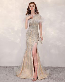 Bleistift Konfirmationskleid Pailletten Perlen Ballkleid Glitzernden Mit Schleppe Lange Abendkleid Herrlich Champagner