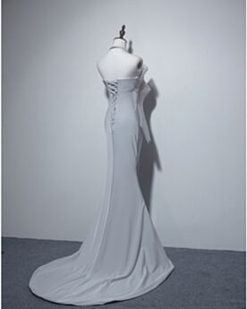 Long Satin Simple Sleeveless Backless Formal Evening Dresses Strapless Light Gray Mermaid