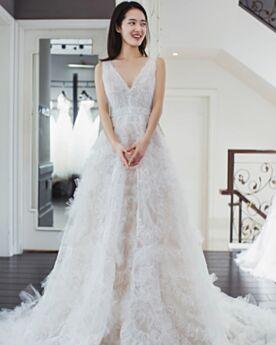 Spitzen Brautkleider Vokuhila Tiefer Ausschnitt Rückenfreies Strand Prinzessin Lange Ärmellos Weiß Bohemian Tüll