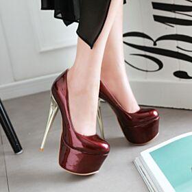 De Punta Fina Tacones Muy Altos Color Vino Con Plataforma Dia Zapatos Stiletto De Charol