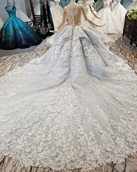Spitzen Roter Teppich Kleider Glitzer Luxus Applikationen Verlobungskleid Mit Schleppe Lange Ballkleid Grau Rückenfreies