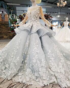 Kanten Applique Lange Sparkle Open Rug Doorkijk Galajurken Verlovingsjurken Glitter Lange Mouw Luxe Grijze