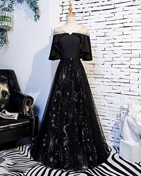 Halbe Ärmel Abendkleider Ballkleid Tüll Rückenfreies Lange Prinzessin Schöne Glitzer Kleider Für Festliche Schwarze