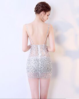 Short Open Back Sleeveless Cocktail Dresses Hot Dress Plunge Semi Formal Dresses With Crystal See Through Sexy Sequin Silver Sheath Spaghetti Strap