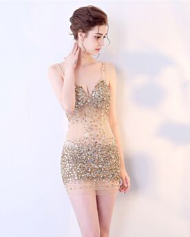 Tulle Club Dresses Backless Cocktail Dress Transparent Crystal Plunge Sparkly Spaghetti Strap Sheath Sequin Gold Short Sexy