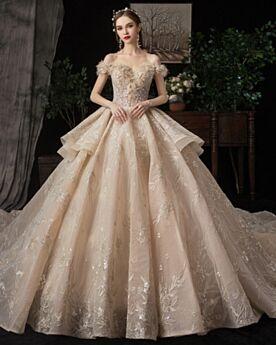 プリンセス チュール トレーン ロング ウェディングドレス ストラップ レス 豪華 な グリッター キラキラ オープンバック 2820030318