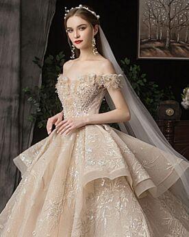 Off Shoulder Brautkleid Luxus Prinzessin Schößchen Rückenausschnitt Glitzernden Glitzer